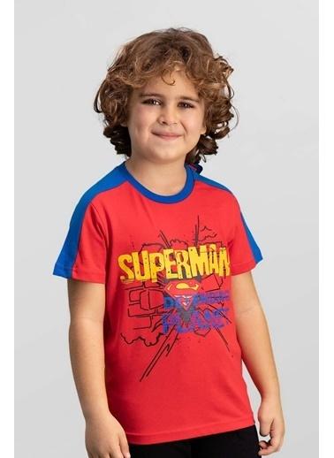 Superman Superman Lisanslı Açık Gri Erkek Çocuk T-Shirt Kırmızı